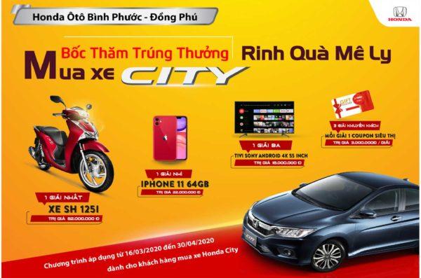 Qua tặng hấp dẫn kho khách hàng mua xe Honda City tại Honda Ôtô Bình Phước